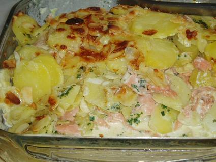 Recette de gratin de pommes de terre et saumon