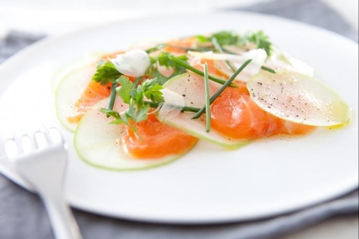 Recette de carpaccio de saumon et pomme verte facile et rapide