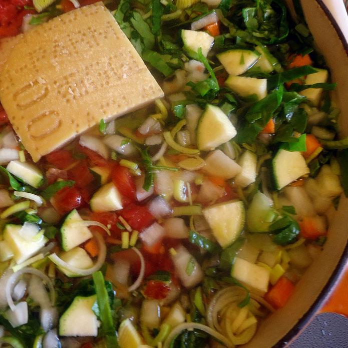 Minestrone à la milanaise : soupe de riz