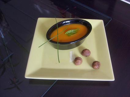 Recette de velouté onctueux de potiron, carottes et châtaignes