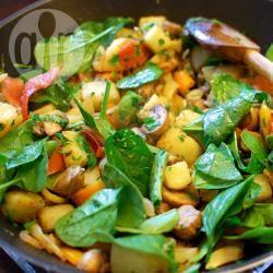 Recette poêlée de pommes de terre, champignons et épinards ...