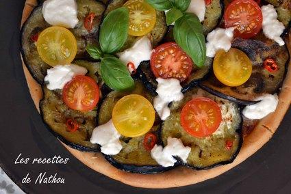 Recette de pizza  tarte aux aubergines, tomates cerise et chèvre
