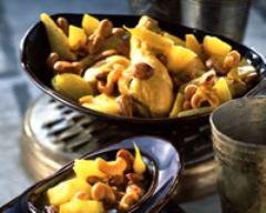 Recette tajine de poulet aux amandes et noix de cajou