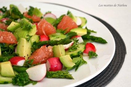 Recette de salade d'asperges, radis et avocat au pamplemousse ...