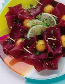 Viande des grisons, melon, citron vert et pistaches pour 4 personnes ...