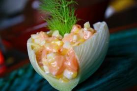 Tartare acidulé saumon-mangue-fenouil pour 2 personnes ...