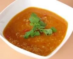 Recette soupe épicée aux lentilles rouges pauvre en sel