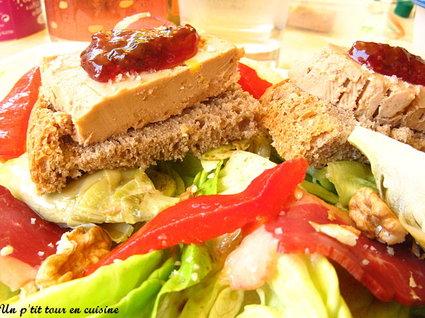 Recette de salade d'été au foie gras, confiture de figues