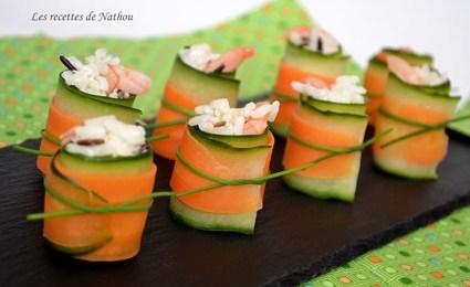 Recette de roulades concombre  carotte au riz et crevettes