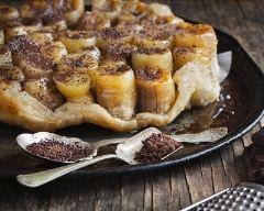 Recette tarte tatin à la banane et chocolat en poudre