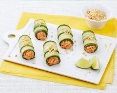 Recette rouleaux de concombre aux rillettes de sardines