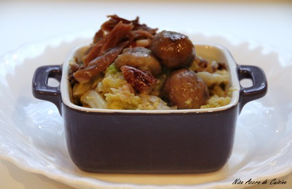 Recette de chou au canard, aux châtaignes et noix de pécan