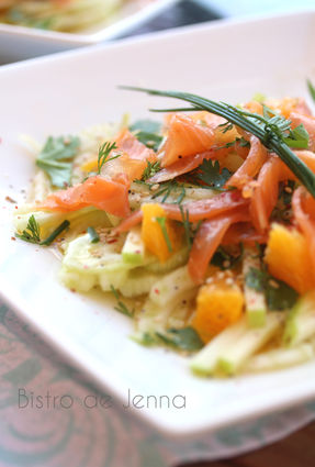 Recette de salade de fenouil, orange et truite fumée