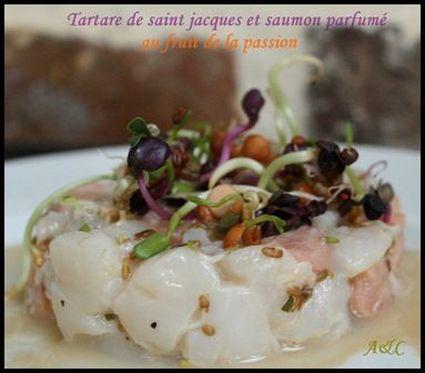 Recette de tartare saint-jacques, saumon et fruit de la passion
