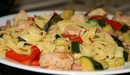 Recette de tagliatelles au poulet et aux légumes