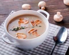 Recette soupe au poulet, champignons et échalotes