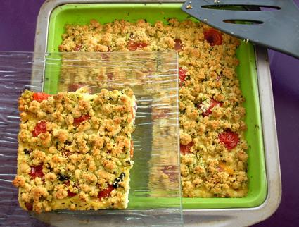 Recette de flan lardons et tomates cerises, crumble basilic