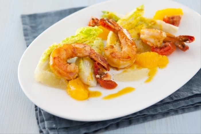 Recette de salade de gambas, vinaigrette onctueuse orange ...