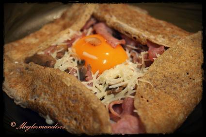 Recette de galette à la poêlée de bacon aux champignons et oeuf ...
