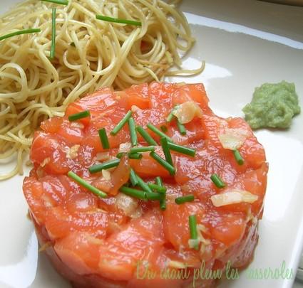 Recette de tartare de saumon comme un sashimi