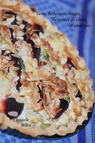 Recette de tarte betteraves rouges, fleurettes de choux et amandes