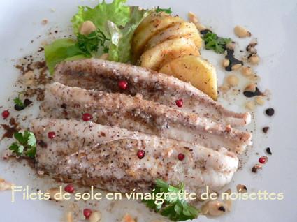 Recette de filets de sole en vinaigrette de noisettes