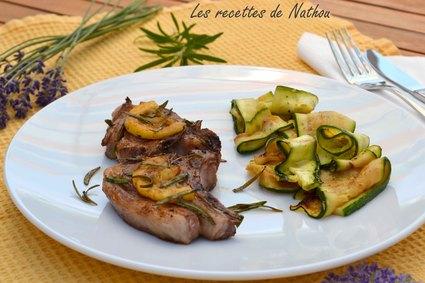 Recette agneau grillé au citron et romarin et tagliatelles de courgettes