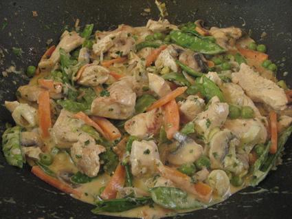 Recette de wok de dinde stroganov aux légumes