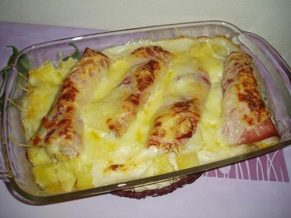 Recette de gratin de bananes, pommes de terre et jambon