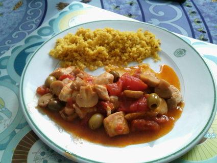Recette de poêlée de poulet aux champignons et olives