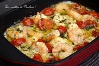 Recette de scampis à l'ail, feta et tomates cerises