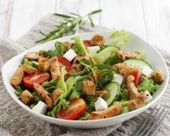 Recette salade de tomates, chèvre et poulet grillé au miel