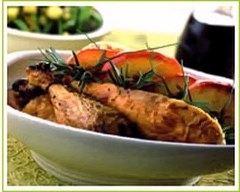 Recette poulet rôti aux pommes et au romarin