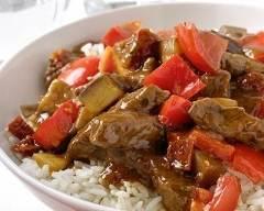 Recette emincé de bœuf sauté au riz et à la ratatouille