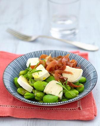 Recette de salade de fèves et émincé de jambon croustillant à à l ...
