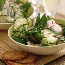 Recette salade de pois gourmands, concombre et radis – toutes les ...