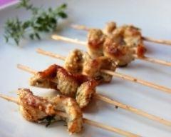 Recette brochettes de poulet mariné à l'huile d'olive, thym et cumin
