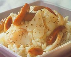 Recette risotto d'églefin aux amandes et aux cèpes