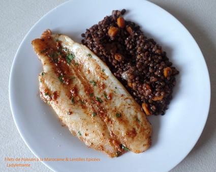 Recette de filets de poisson à la marocaine et lentilles épicées