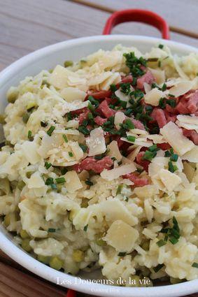 Recette de risotto courgettes, petits pois, bacon