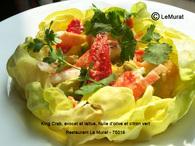 Recette de salade de crabe royal, avocat et laitue, huile d'olive et ...