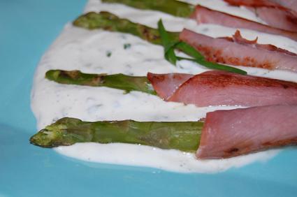 Recette asperges vertes au bacon, sauce à la ciboulette
