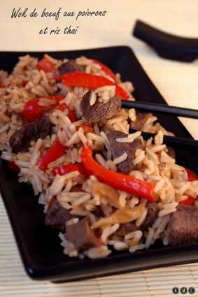Recette de wok de boeuf aux poivrons et riz thaï