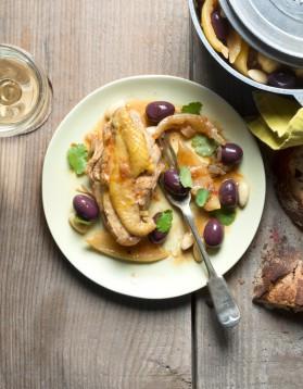 Poulet aux olives violettes pour 6 personnes