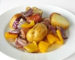 Recette saucisses et légumes au four