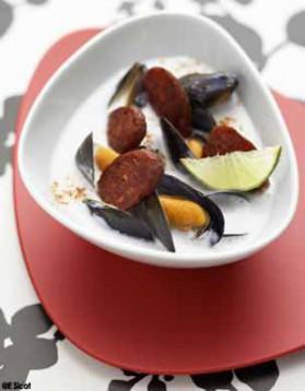 Soupe de moules coco-chorizo pour 6 personnes