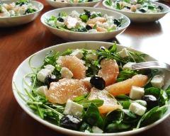 Recette salade de roquette, pamplemousse et feta