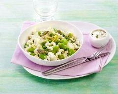 Recette risotto printanier de coquillettes aux petits pois, fèves et ...