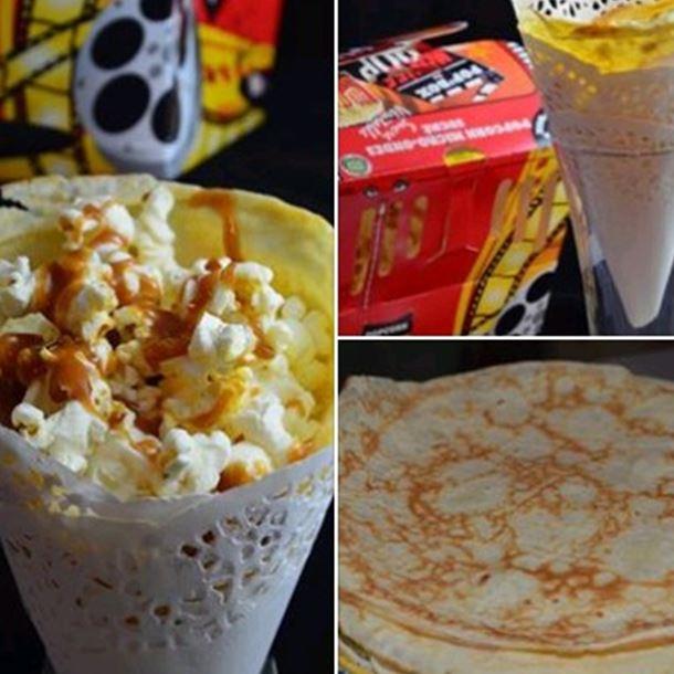 Recette crèpe cinéma : chantilly, pop corn et caramel