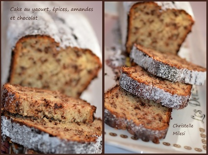 Recette de cake au yaourt, épices, amandes et chocolat